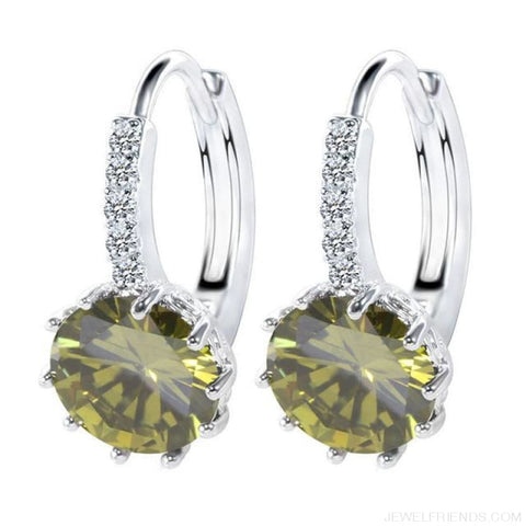 Luxury Small Hoop Cubic Zirconia Earrings - Wg57915 - Custom Made | Free Shipping