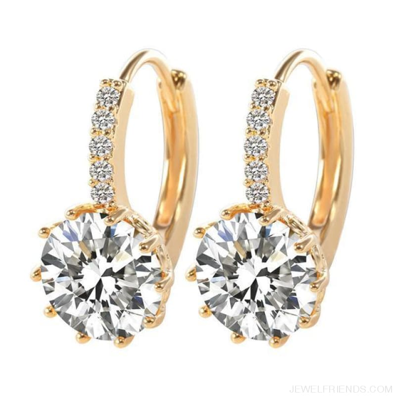 Luxury Small Hoop Cubic Zirconia Earrings - Wg57916 - Custom Made | Free Shipping