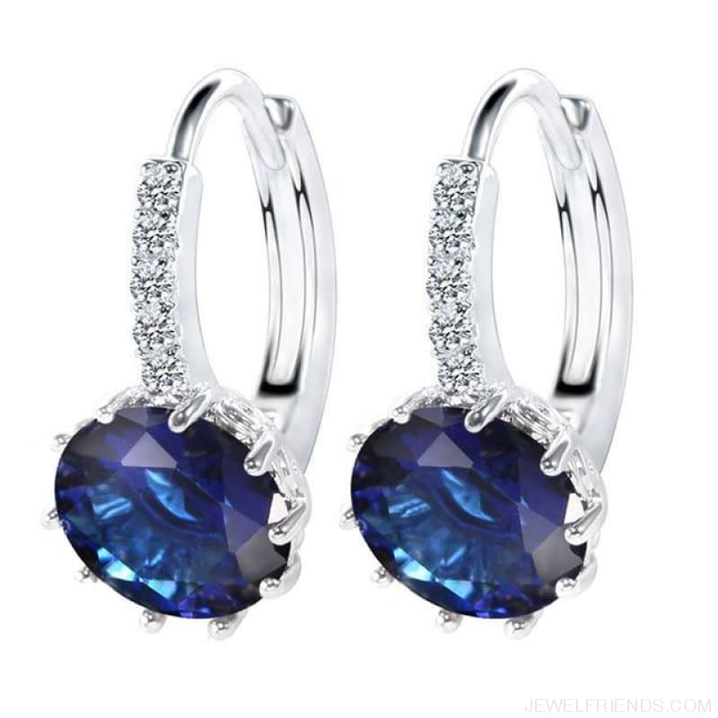 Luxury Small Hoop Cubic Zirconia Earrings - Wg57917 - Custom Made | Free Shipping