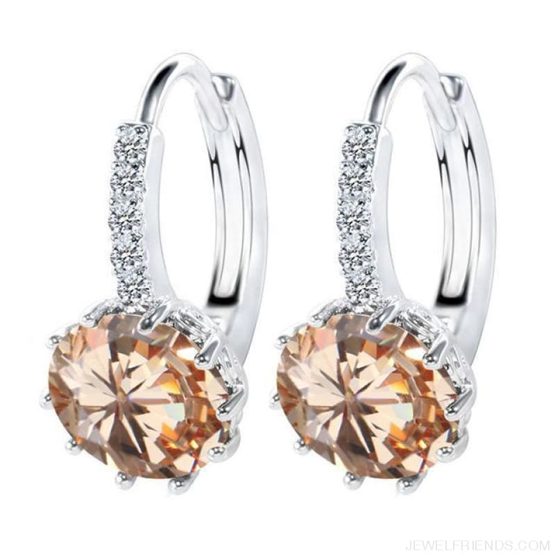 Luxury Small Hoop Cubic Zirconia Earrings - Wg57918 - Custom Made | Free Shipping