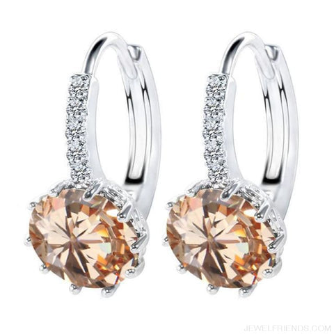 Image of Luxury Small Hoop Cubic Zirconia Earrings - Wg57918 - Custom Made | Free Shipping