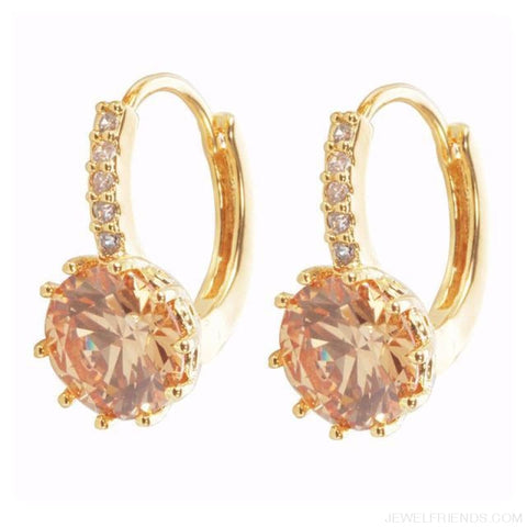 Luxury Small Hoop Cubic Zirconia Earrings - Wg57919 - Custom Made | Free Shipping
