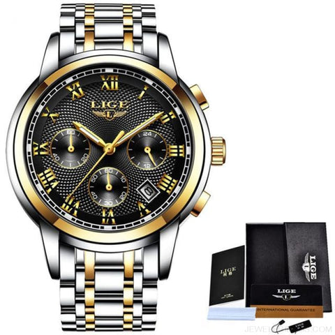 Image of Luxury Sport Quartz Clock Steel Waterproof - Gold Black - Custom Made | Free Shipping