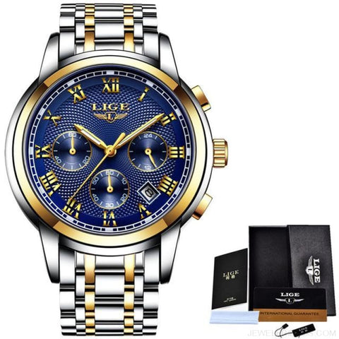 Image of Luxury Sport Quartz Clock Steel Waterproof - Gold Blue - Custom Made | Free Shipping