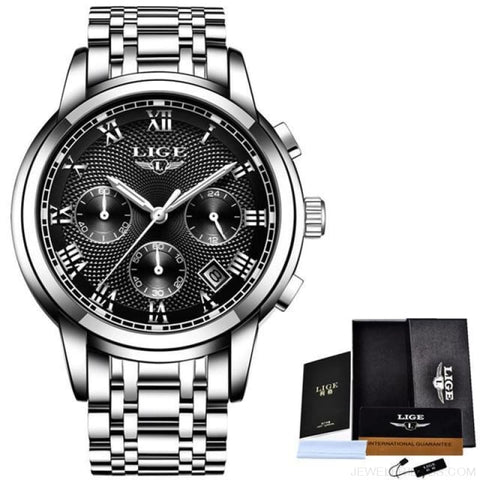 Image of Luxury Sport Quartz Clock Steel Waterproof - Silver Black - Custom Made | Free Shipping