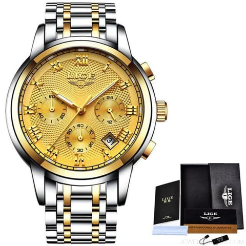 Image of Luxury Sport Quartz Clock Steel Waterproof - Silver Gold - Custom Made | Free Shipping
