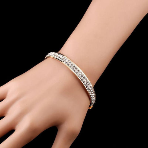 Image of Luxury Style Gold Crystal Rhinestone Cuff Bracelet - Custom Made | Free Shipping