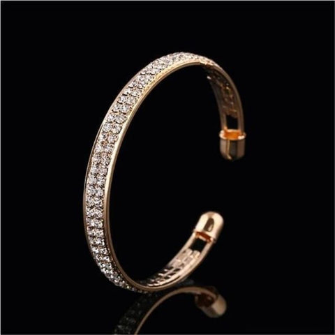 Luxury Style Gold Crystal Rhinestone Cuff Bracelet - Gold - Custom Made | Free Shipping