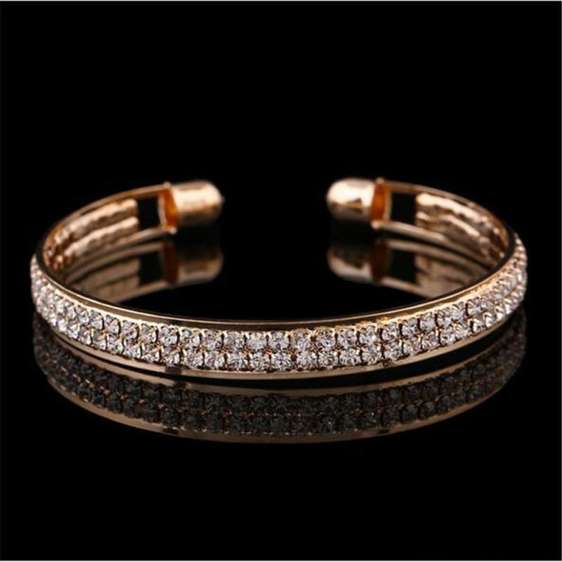 Luxury Style Gold Crystal Rhinestone Cuff Bracelet - Custom Made | Free Shipping