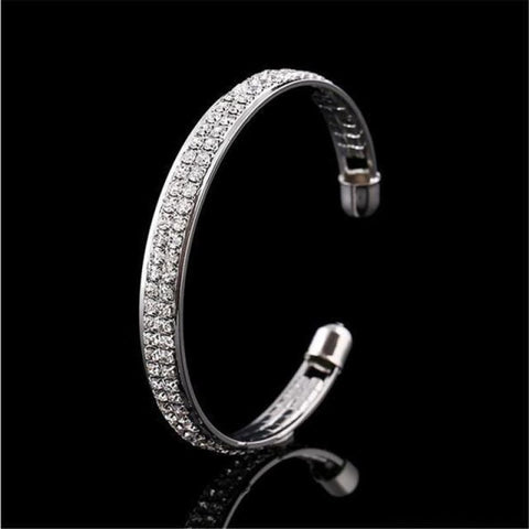 Image of Luxury Style Gold Crystal Rhinestone Cuff Bracelet - Sliver - Custom Made | Free Shipping