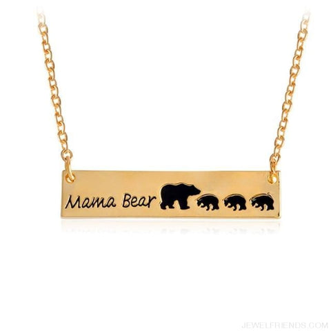 Mama Bear Engraved Necklace - Gold3 - Custom Made | Free Shipping