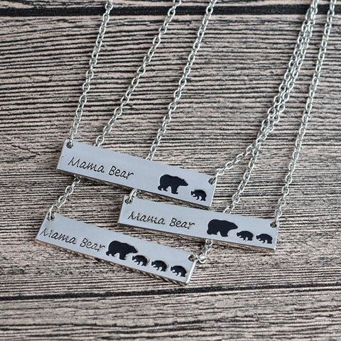 Image of Mama Bear Engraved Necklace - Custom Made | Free Shipping