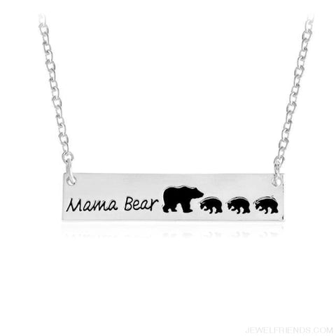 Mama Bear Engraved Necklace - Silver3 - Custom Made | Free Shipping