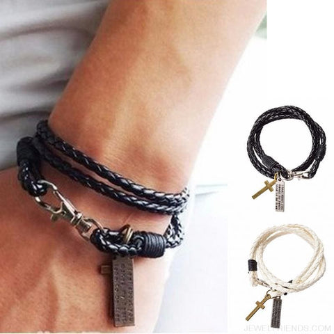 Image of Masculine Leather Cross Bracelet - Custom Made | Free Shipping