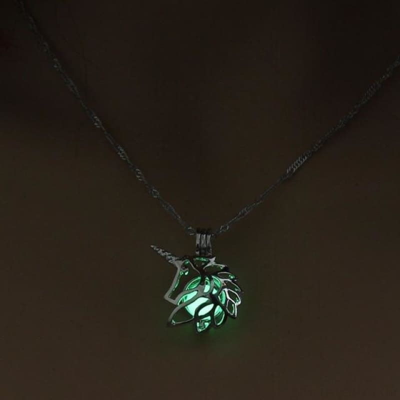 Metal Unicorn Glow In The Dark Necklaces - Green - Custom Made | Free Shipping