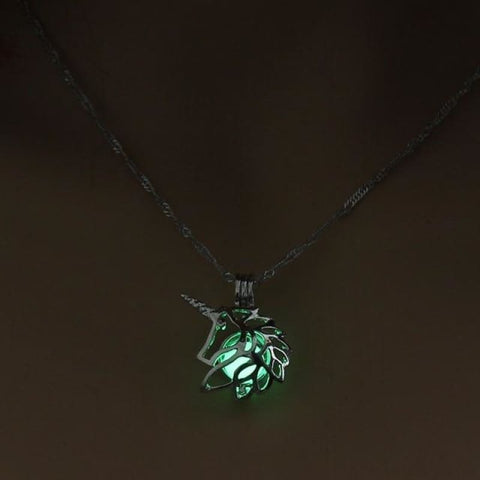 Image of Metal Unicorn Glow In The Dark Necklaces - Green - Custom Made | Free Shipping
