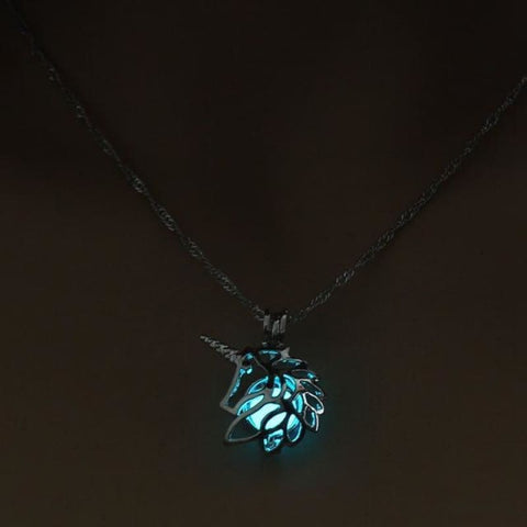 Image of Metal Unicorn Glow In The Dark Necklaces - Light Blue - Custom Made | Free Shipping