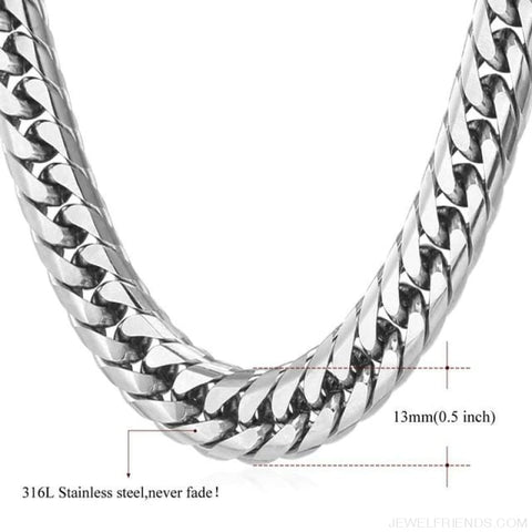Image of Miami Cuban Link Chain Hip Hop Chains 6Mm-13Mm - 13Mmstainless Steel / 22 Inches / China - Custom Made | Free Shipping