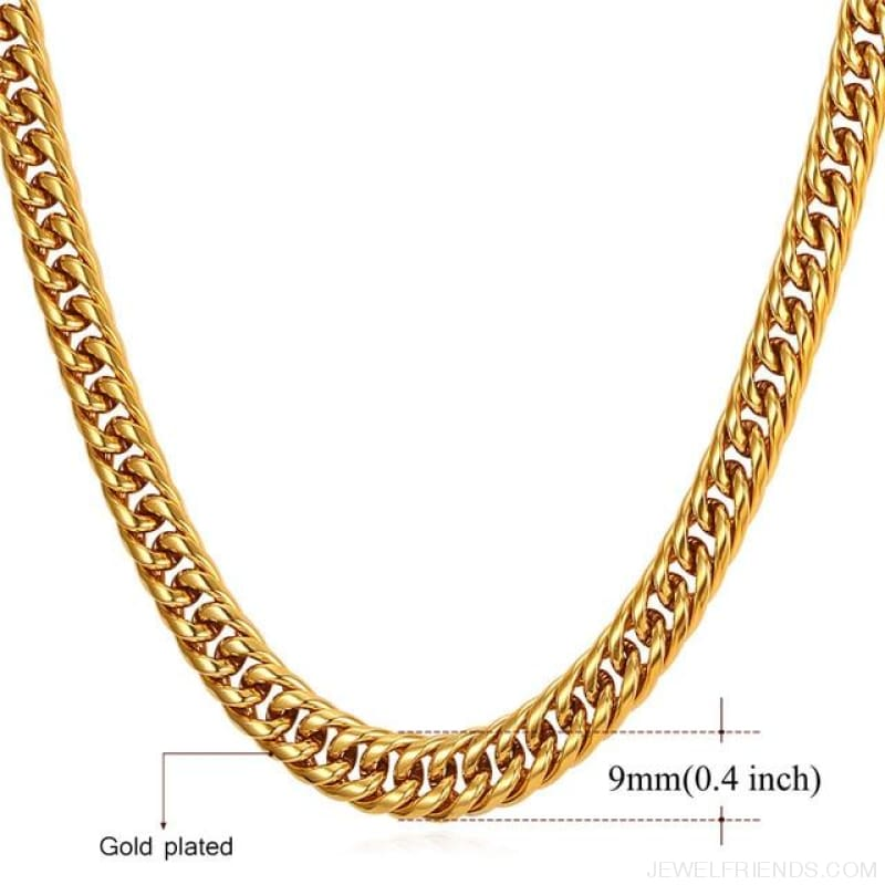 Miami Cuban Link Chain Hip Hop Chains 6Mm-13Mm - 9Mm Gold Plated / 22 Inches / China - Custom Made | Free Shipping