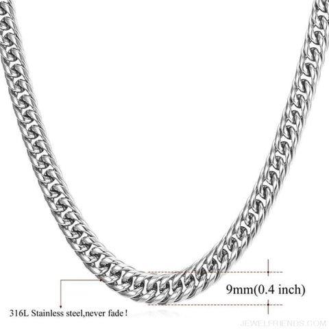 Miami Cuban Link Chain Hip Hop Chains 6Mm-13Mm - 9Mm Stainless Steel / 22 Inches / China - Custom Made | Free Shipping
