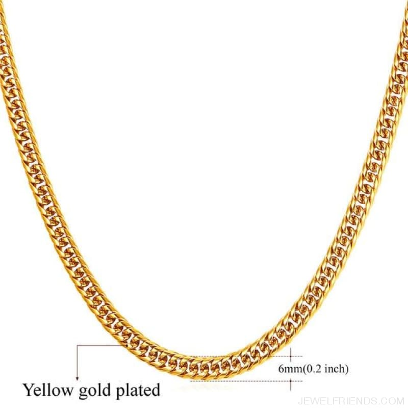Miami Cuban Link Chain Hip Hop Chains 6Mm-13Mm - 6Mm Gold Plated / 22 Inches / China - Custom Made | Free Shipping