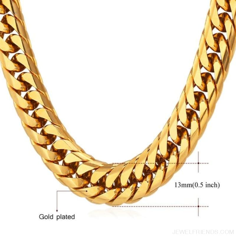 Miami Cuban Link Chain Hip Hop Chains 6Mm-13Mm - 13Mm Gold Plated / 22 Inches / China - Custom Made | Free Shipping