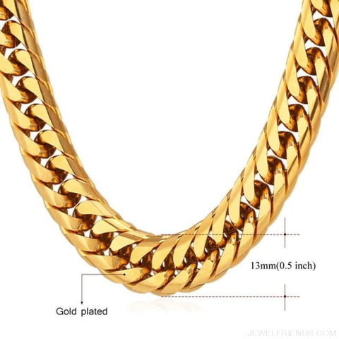 Image of Miami Cuban Link Chain Hip Hop Chains 6Mm-13Mm - 13Mm Gold Plated / 22 Inches / China - Custom Made | Free Shipping