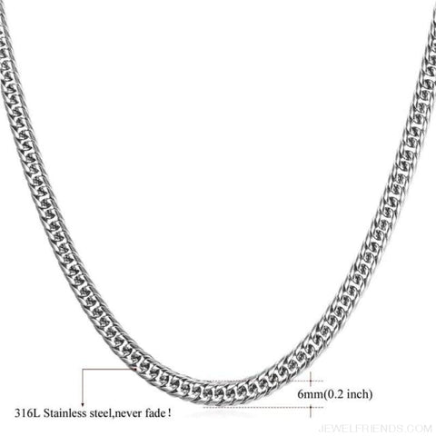Image of Miami Cuban Link Chain Hip Hop Chains 6Mm-13Mm - 6Mm Stainless Steel / 22 Inches / China - Custom Made | Free Shipping