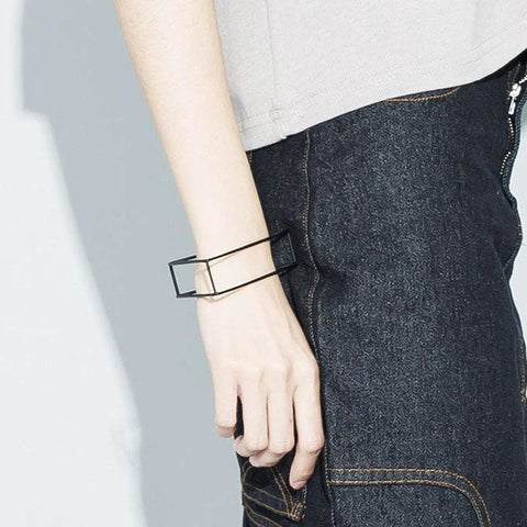 Image of Minimalist Black Plated Copper Triangle Square Bracelets & Ring - Custom Made | Free Shipping