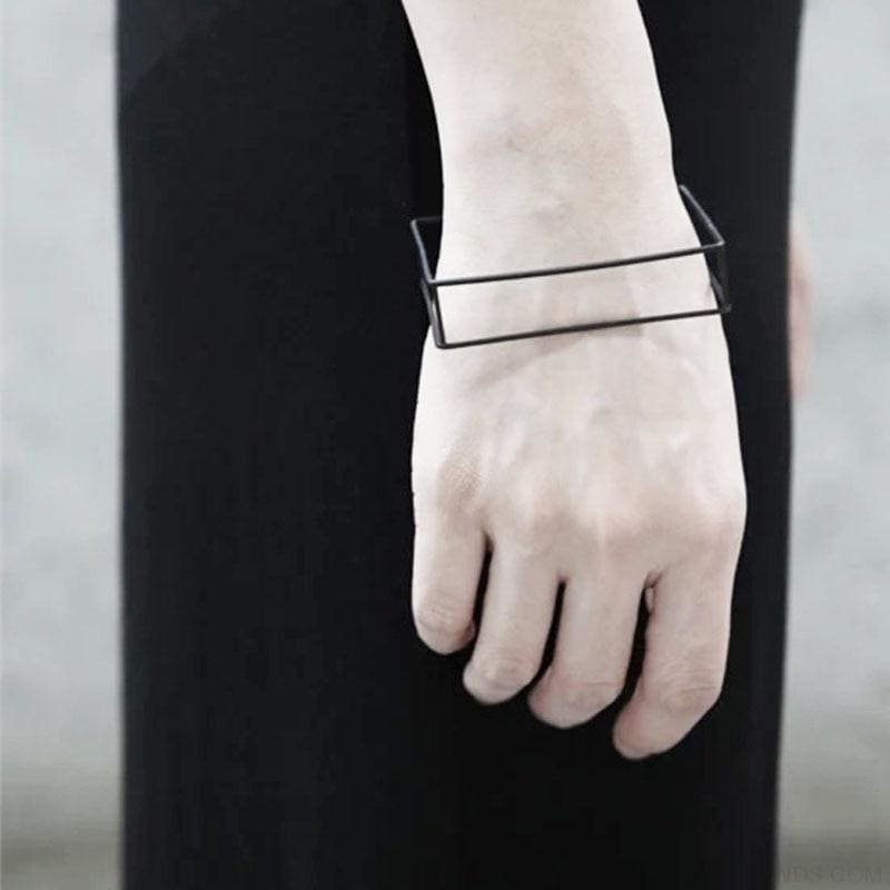 Minimalist Black Plated Copper Triangle Square Bracelets & Ring - Custom Made | Free Shipping