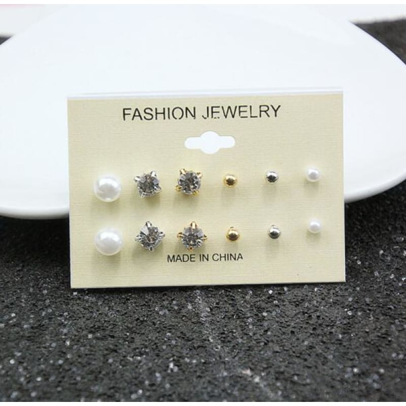 Mixing Crystal Pearl Stud Earrings 6 Pair/set - E0126 - Custom Made | Free Shipping