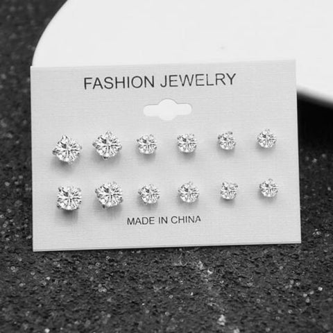Image of Mixing Crystal Pearl Stud Earrings 6 Pair/set - E0239 - Custom Made | Free Shipping