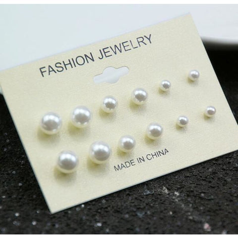 Image of Mixing Crystal Pearl Stud Earrings 6 Pair/set - E0240 - Custom Made | Free Shipping