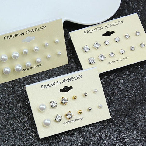 Image of Mixing Crystal Pearl Stud Earrings 6 Pair/set - Custom Made | Free Shipping