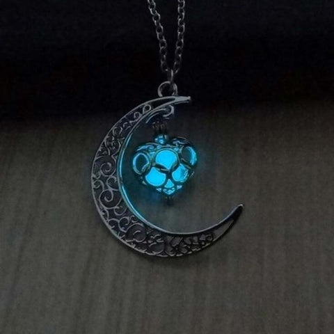 Image of Moon Glowing Necklace - Blue - Custom Made | Free Shipping