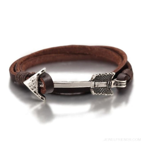 Multilayer Charm Leather Vintage Bronze Arrow Bracelet - Leather Coffee - Custom Made | Free Shipping