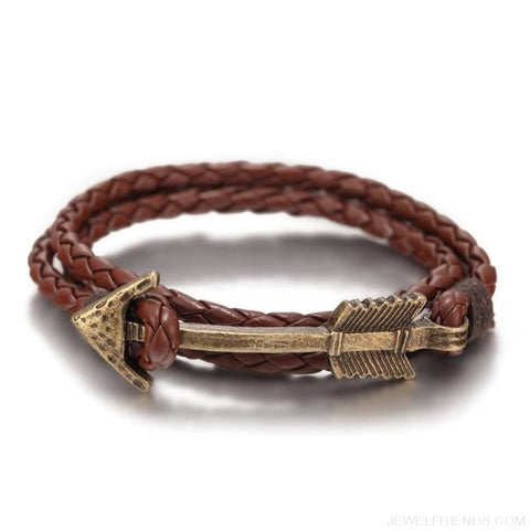 Multilayer Charm Leather Vintage Bronze Arrow Bracelet - Bronze Coffee - Custom Made | Free Shipping