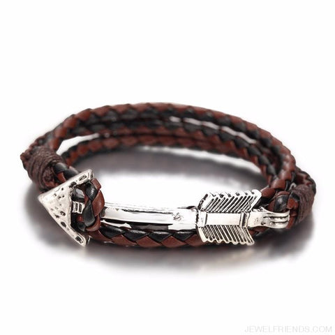Multilayer Charm Leather Vintage Bronze Arrow Bracelet - Custom Made | Free Shipping