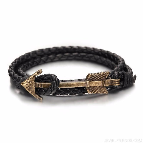 Image of Multilayer Charm Leather Vintage Bronze Arrow Bracelet - Custom Made | Free Shipping
