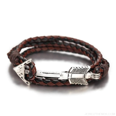 Multilayer Charm Leather Vintage Bronze Arrow Bracelet - Silver Black Coffee - Custom Made | Free Shipping