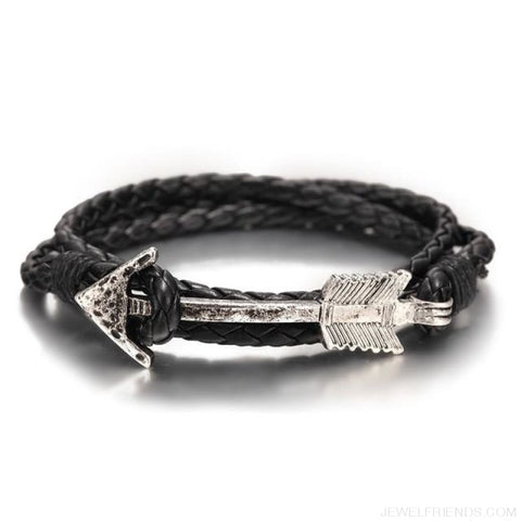 Multilayer Charm Leather Vintage Bronze Arrow Bracelet - Silver Black - Custom Made | Free Shipping