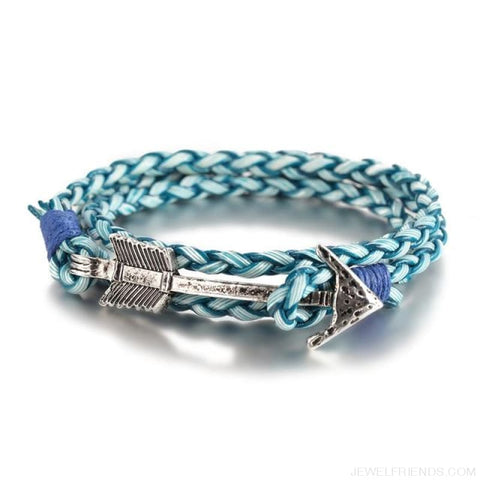 Multilayer Charm Leather Vintage Bronze Arrow Bracelet - Silver Blue - Custom Made | Free Shipping