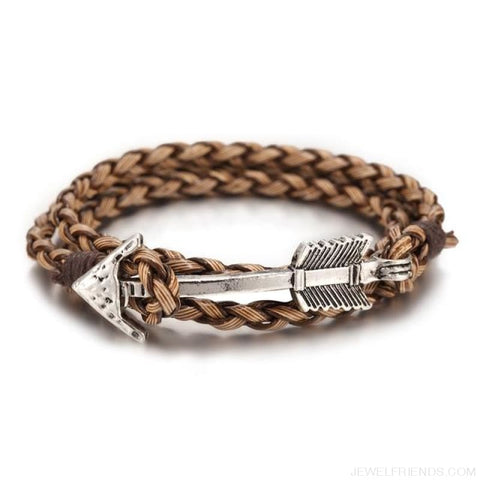 Multilayer Charm Leather Vintage Bronze Arrow Bracelet - Silver Brown - Custom Made | Free Shipping
