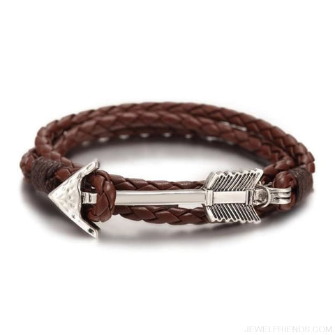 Multilayer Charm Leather Vintage Bronze Arrow Bracelet - Silver Coffee - Custom Made | Free Shipping