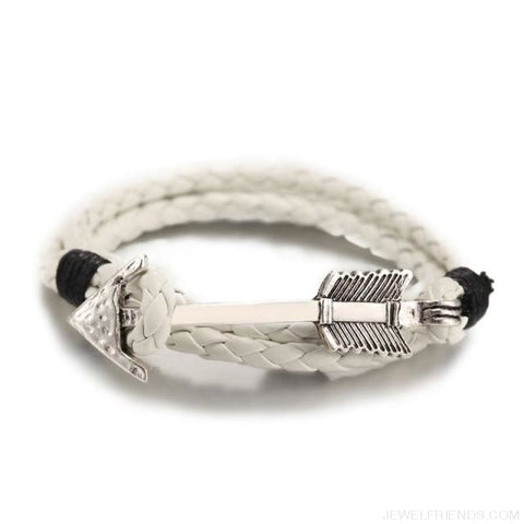Multilayer Charm Leather Vintage Bronze Arrow Bracelet - Silver White - Custom Made | Free Shipping