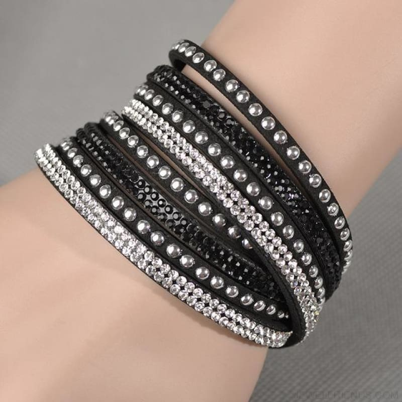 Multilayer Crystal Dot Wrap Bracelets - Black - Custom Made | Free Shipping