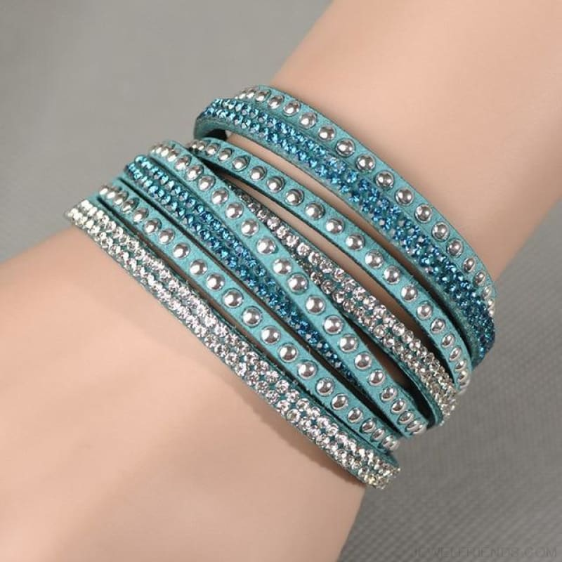 Multilayer Crystal Dot Wrap Bracelets - Blue Zircon - Custom Made | Free Shipping