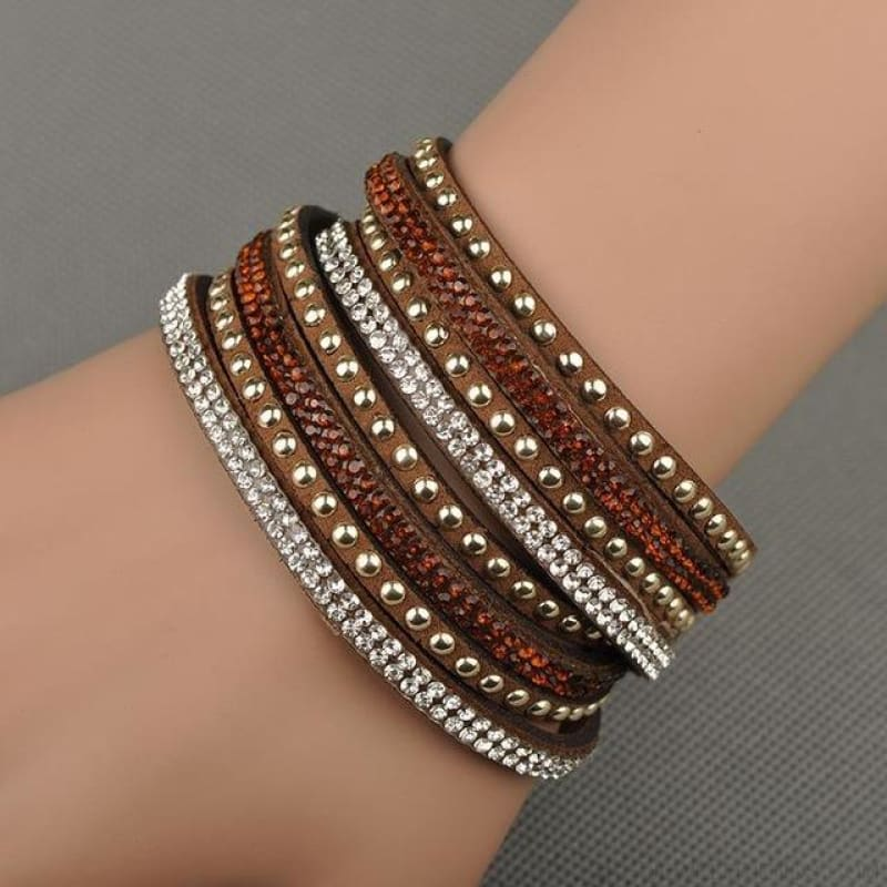 Multilayer Crystal Dot Wrap Bracelets - Brown - Custom Made | Free Shipping
