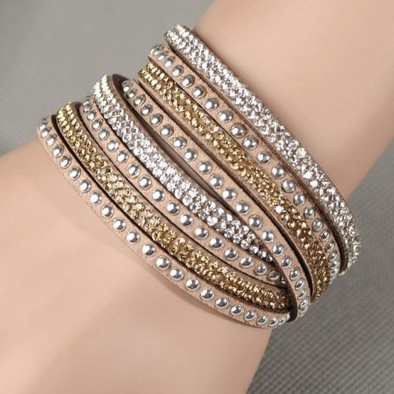 Multilayer Crystal Dot Wrap Bracelets - Champagne - Custom Made | Free Shipping