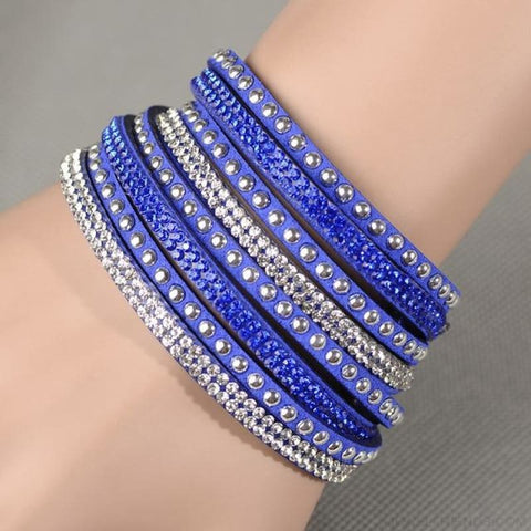 Image of Multilayer Crystal Dot Wrap Bracelets - Dark Blue - Custom Made | Free Shipping